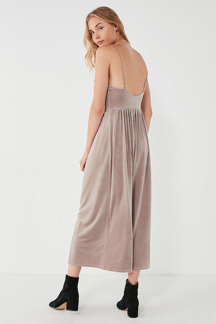 cd6a99dfa61 Lyst - Urban Outfitters Uo Emmabella Velvet Straight-neck Jumpsuit ...