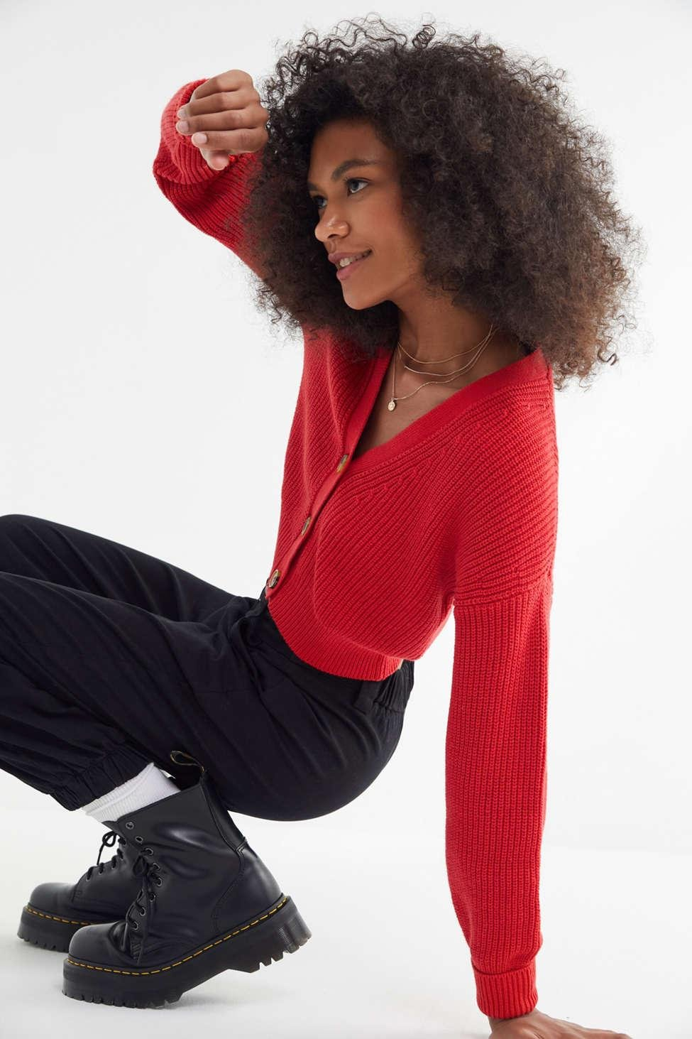 8d16e524432a6 Urban Outfitters Uo Kai Cropped Cardigan in Red - Lyst