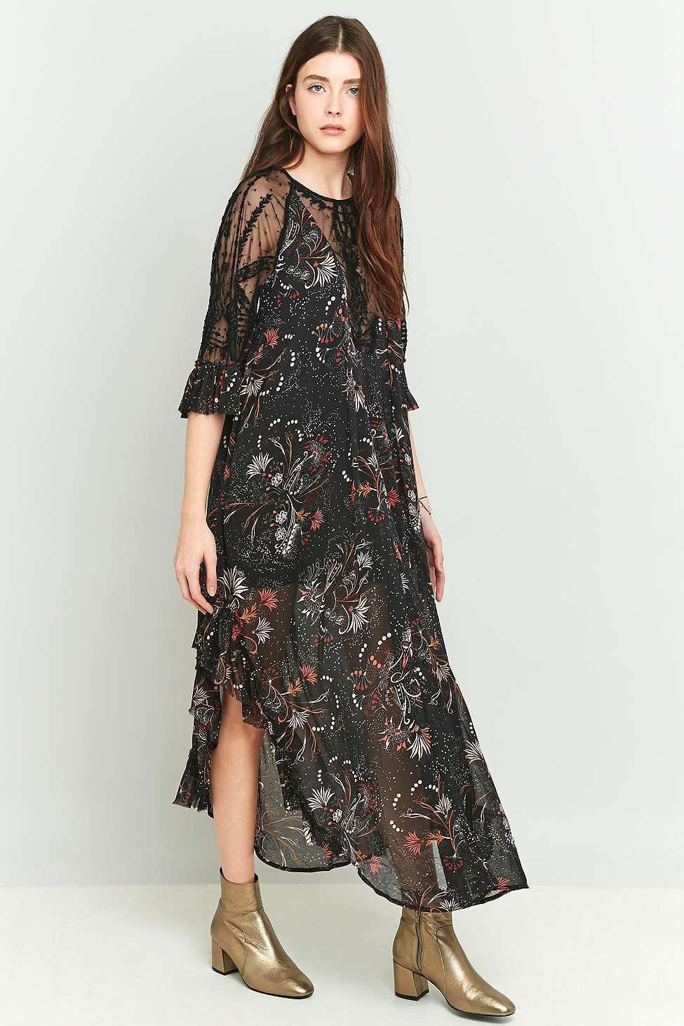 Free People Lace Spirit Of The Wild Black Maxi Dress