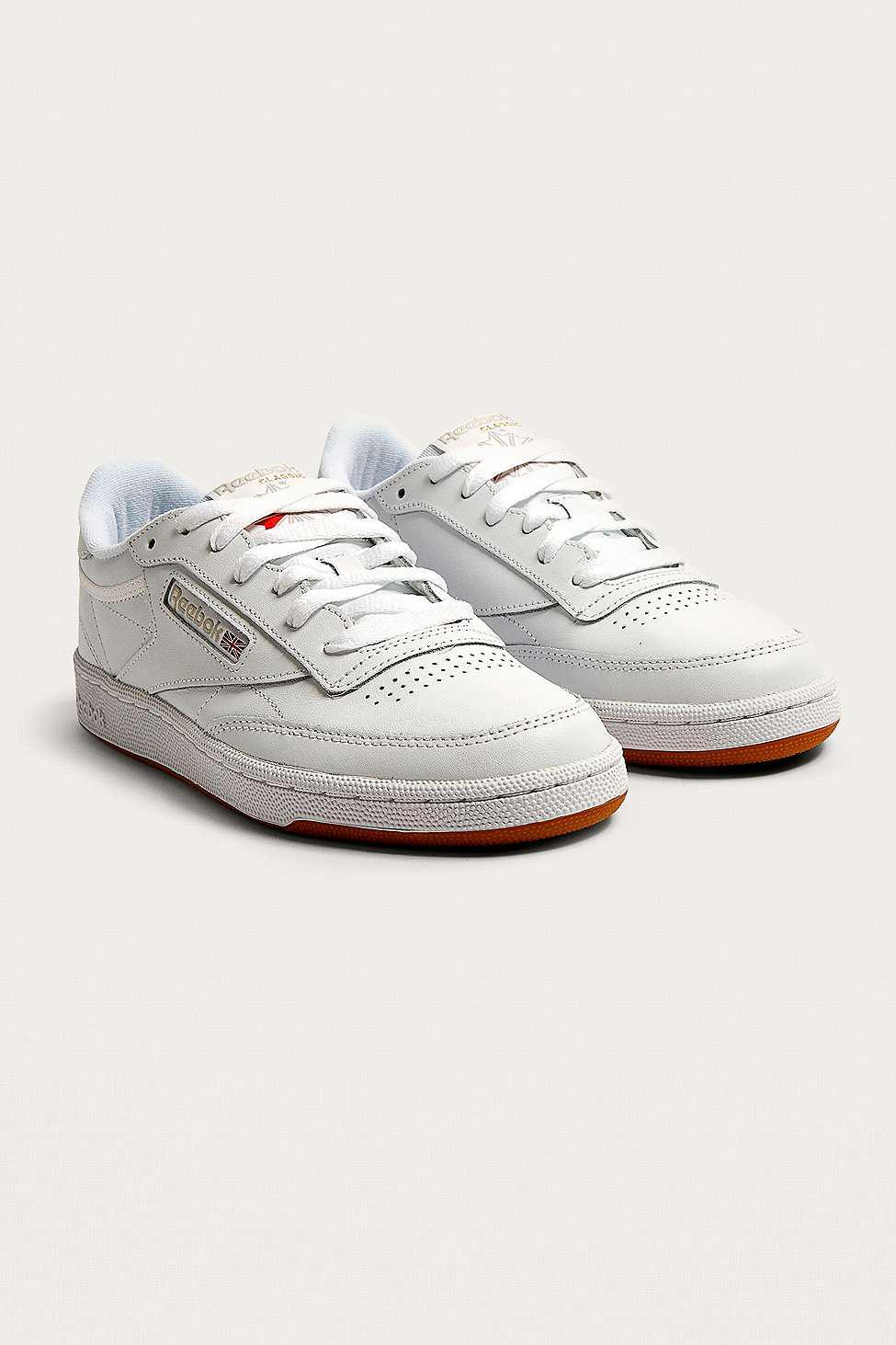 Reebok Leather White Club C 85 Gum Sole Trainers