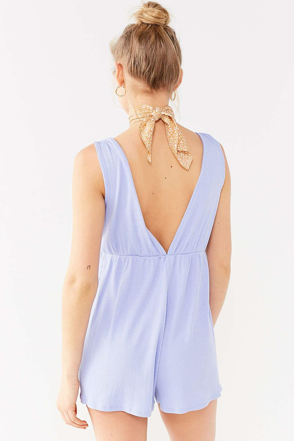 6005b8042acc Lyst - Urban Outfitters Uo Ribbed Knit Plunging Babydoll Romper in ...
