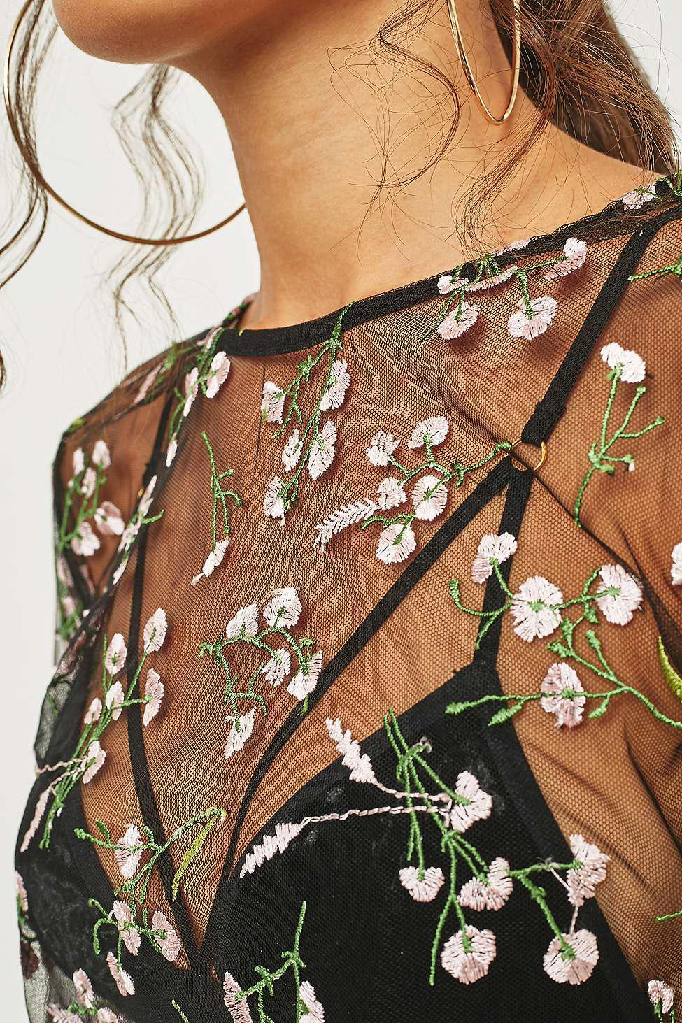 8f8c5170e09d93 Urban Outfitters Urban Outfitters Romantic Embroidered Floral Mesh ...