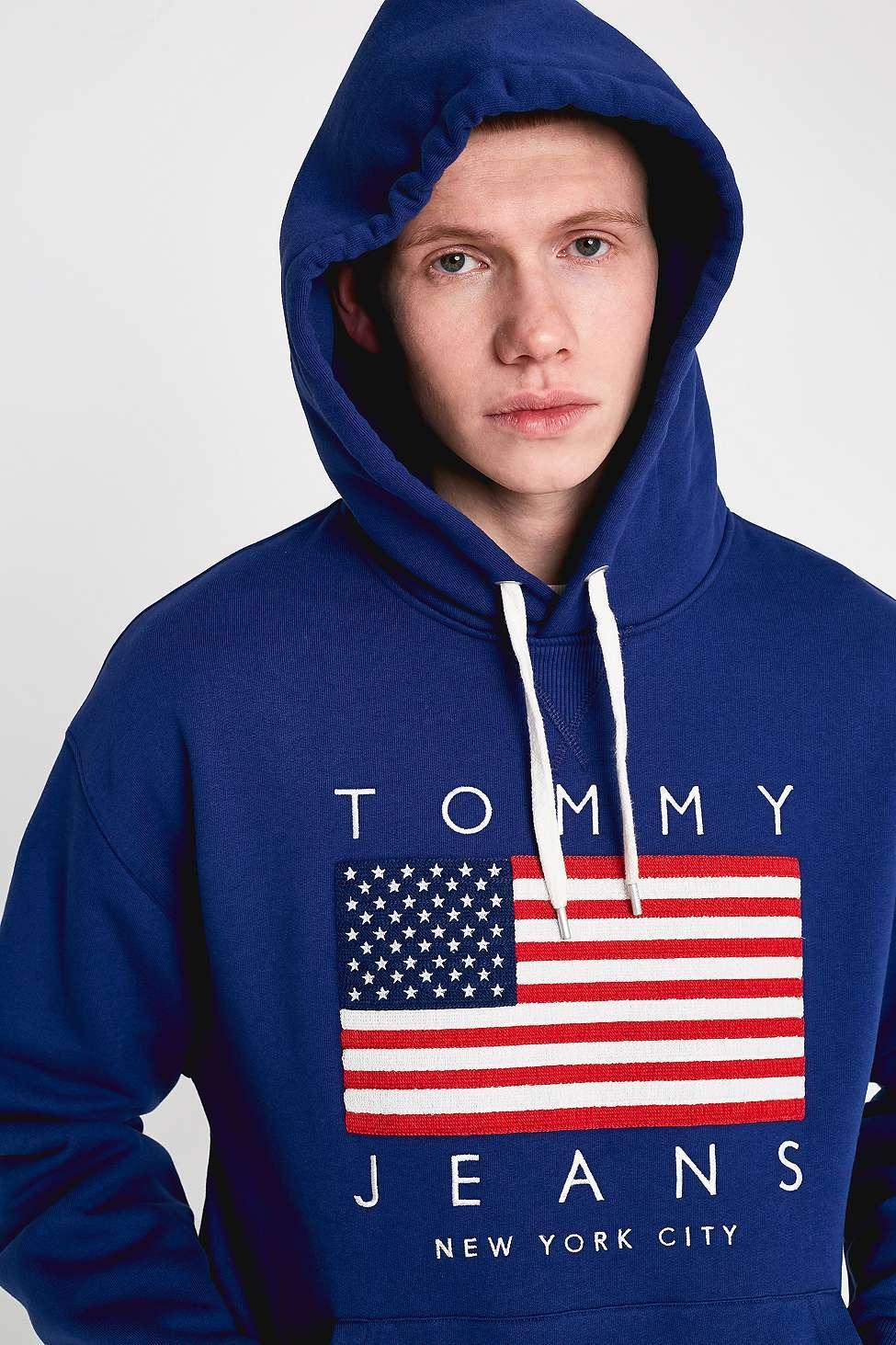 31dd52ee0725 Tommy Hilfiger Us Flag Print Blue Hoodie - Mens M in Blue for Men - Lyst