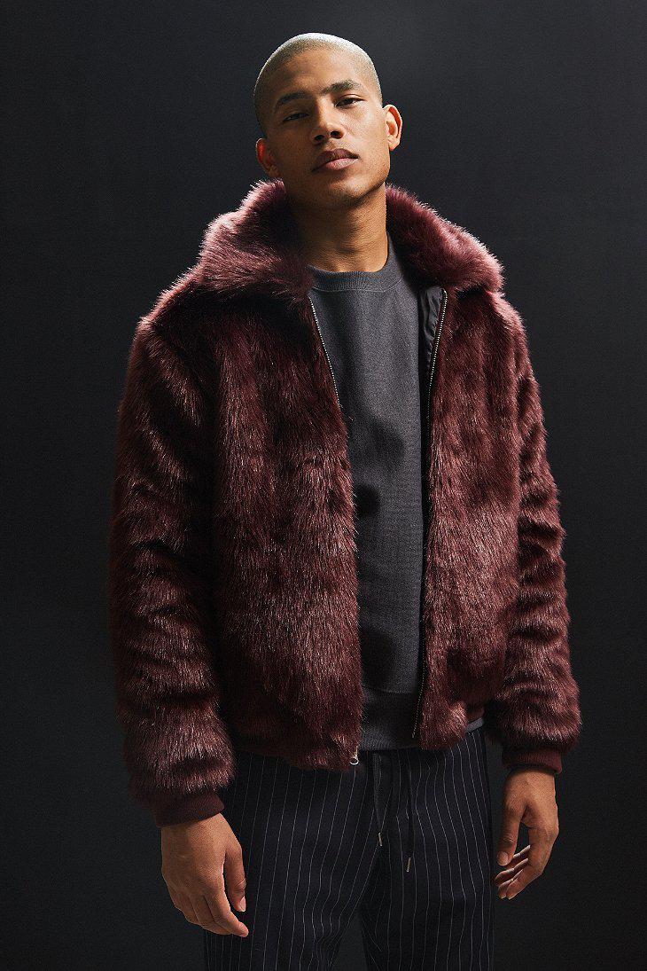 aa83fa122 Lyst - Urban Outfitters Uo Solid Faux Fur Bomber Jacket in Purple ...