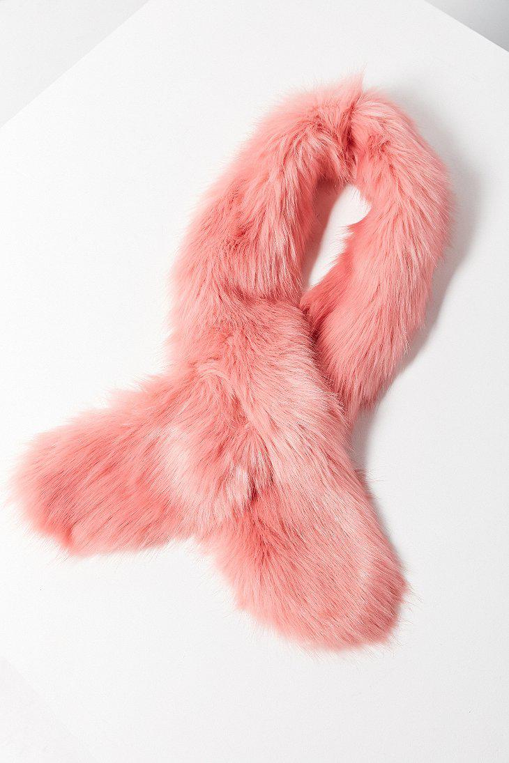Lyst - Urban Outfitters Faux Fur Scarf in Pink 20d605faa8f2