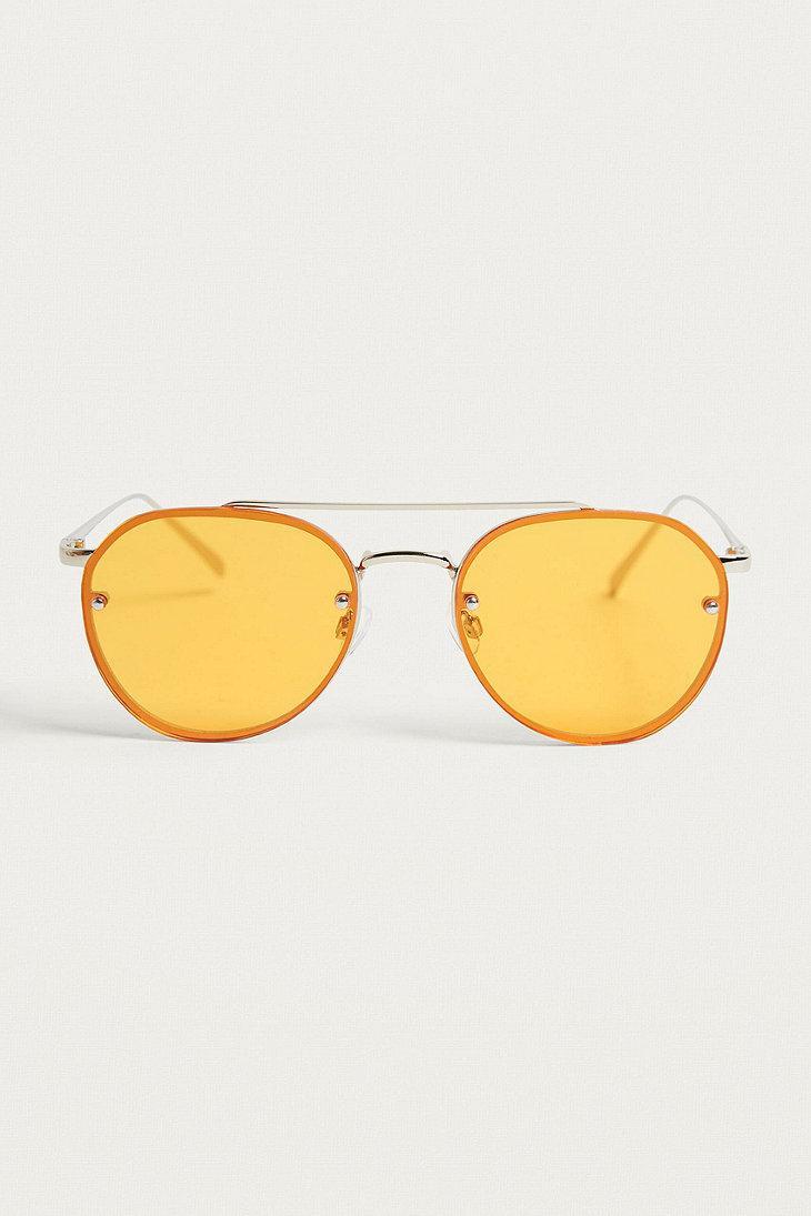 Urban Outfitters Coloured Lens Revo Aviator Sunglasses in Dark Orange (Orange)