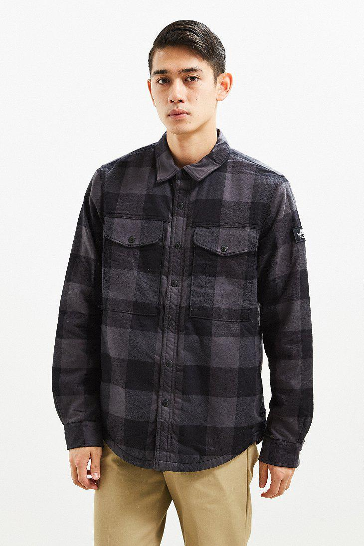 f0e57d633 The North Face Gray The North Face Campground Plaid Sherpa Shirt Jacket for  men