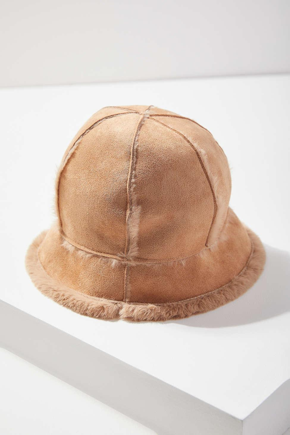 48a34f0fcdb9f Urban Outfitters Sherpa + Suede Bucket Hat in Brown - Lyst