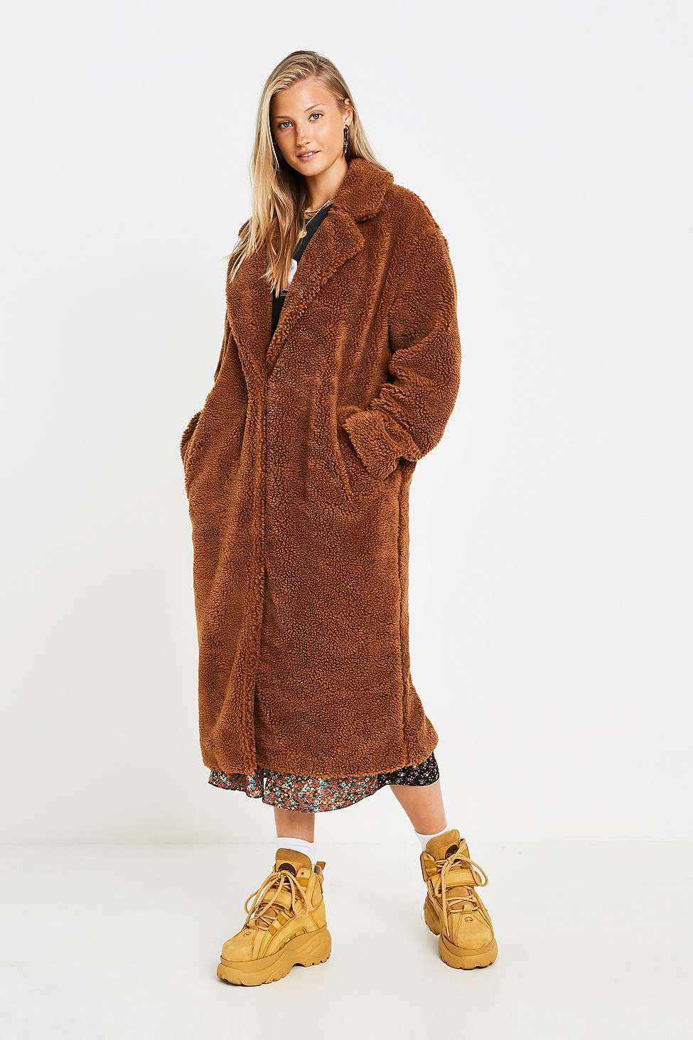 ba7f80a0c Urban Outfitters Uo Long Tan Teddy Coat - Womens Xs in Brown - Lyst
