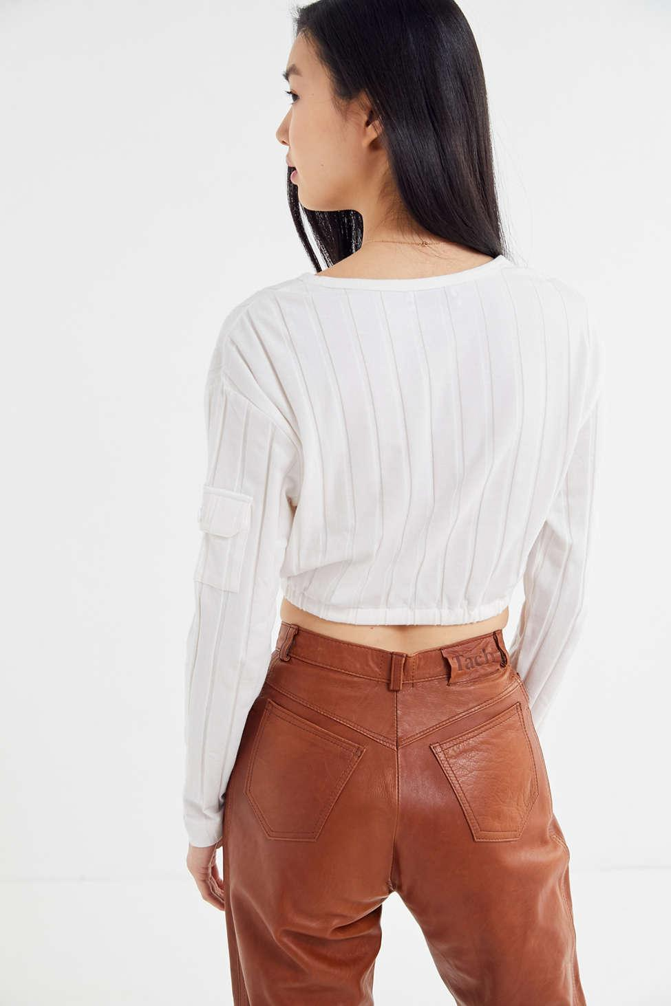 d2166e69cd3 Urban Outfitters White Uo Keely Ribbed Drawstring Hem Cropped Top