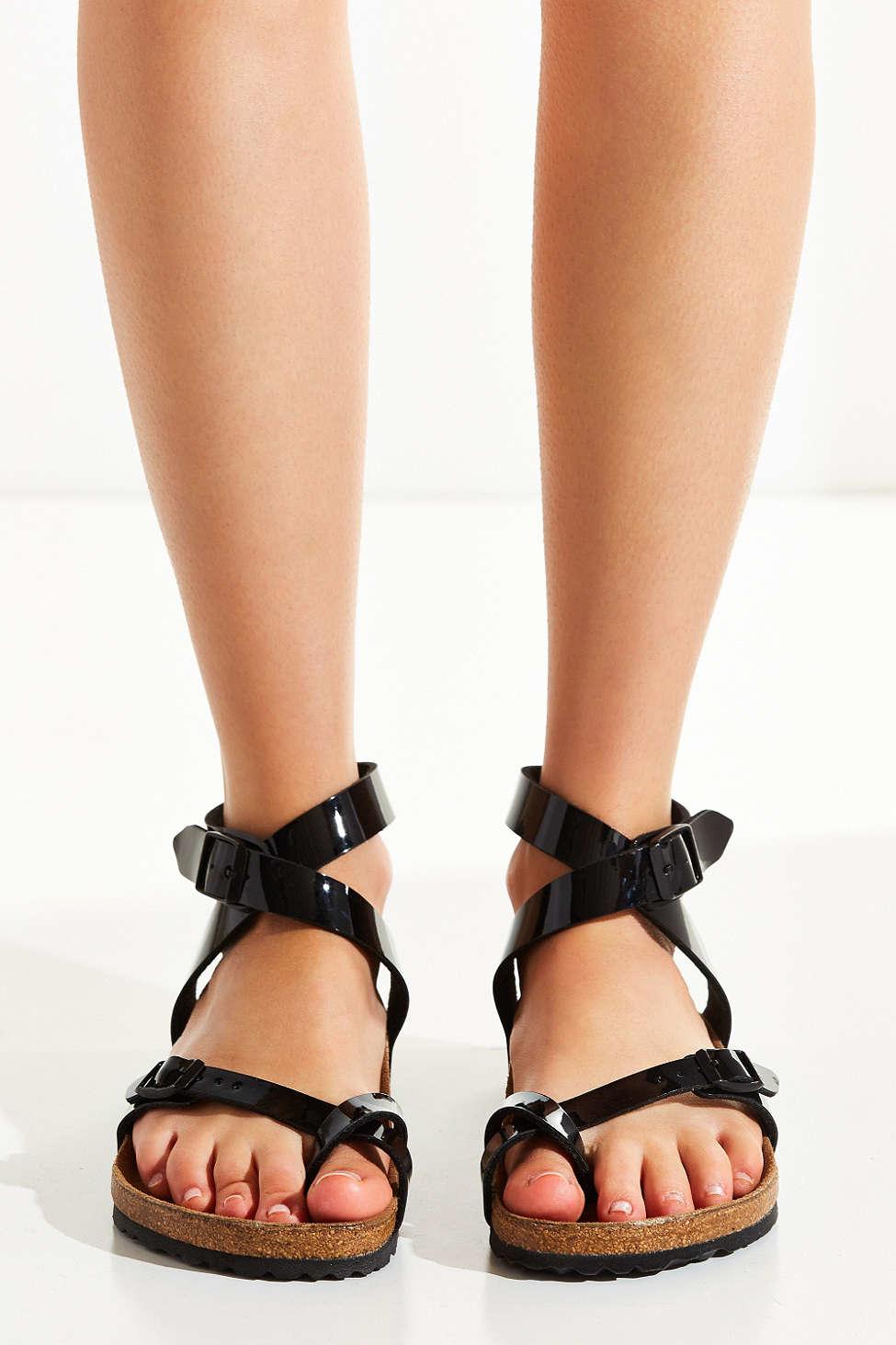 Birkenstock Patent Yara Ankle Wrap Sandal In Black Lyst