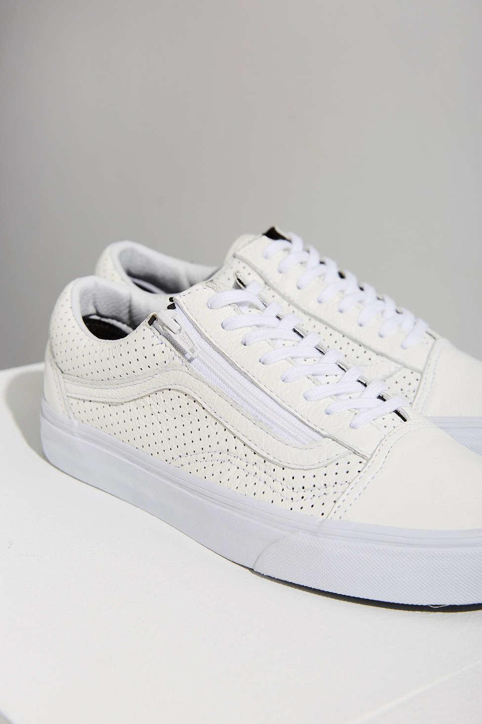 2ed3852707 Lyst - Vans Perforated Leather Old Skool Zip Sneaker in White