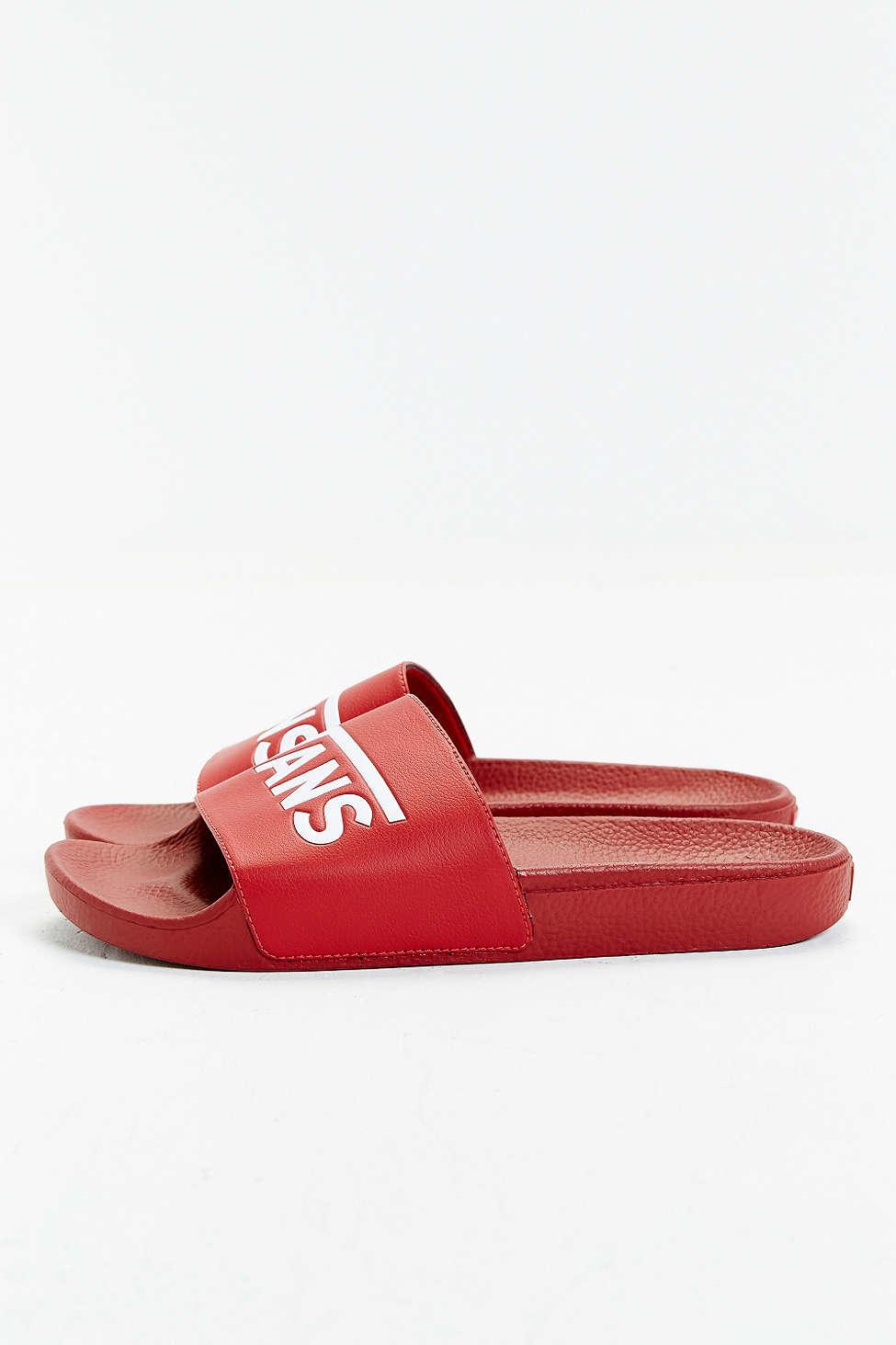 Vans Rubber Slide-on Sandal in Red for