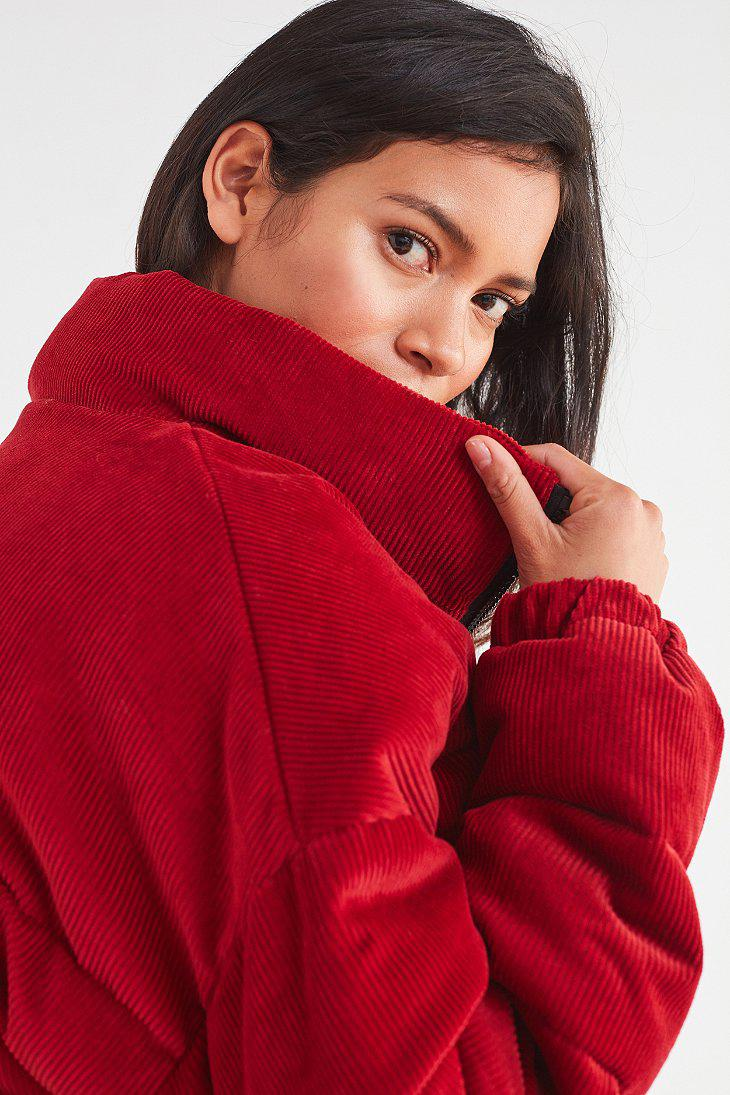 Urban Outfitters Uo Corduroy Puffer Jacket in Red - Lyst