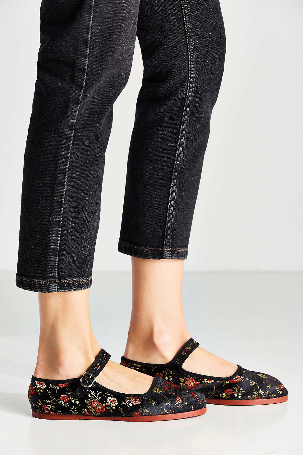 Urban Outfitters Satin Patterned Mary Jane Flat In Black Lyst