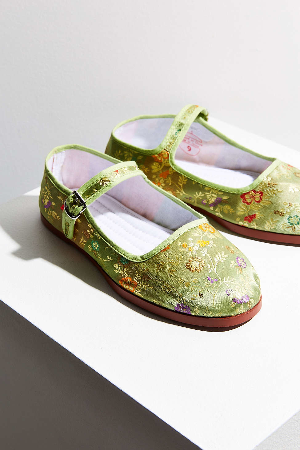Urban Outfitters Satin Patterned Mary Jane Flat In Green Lyst