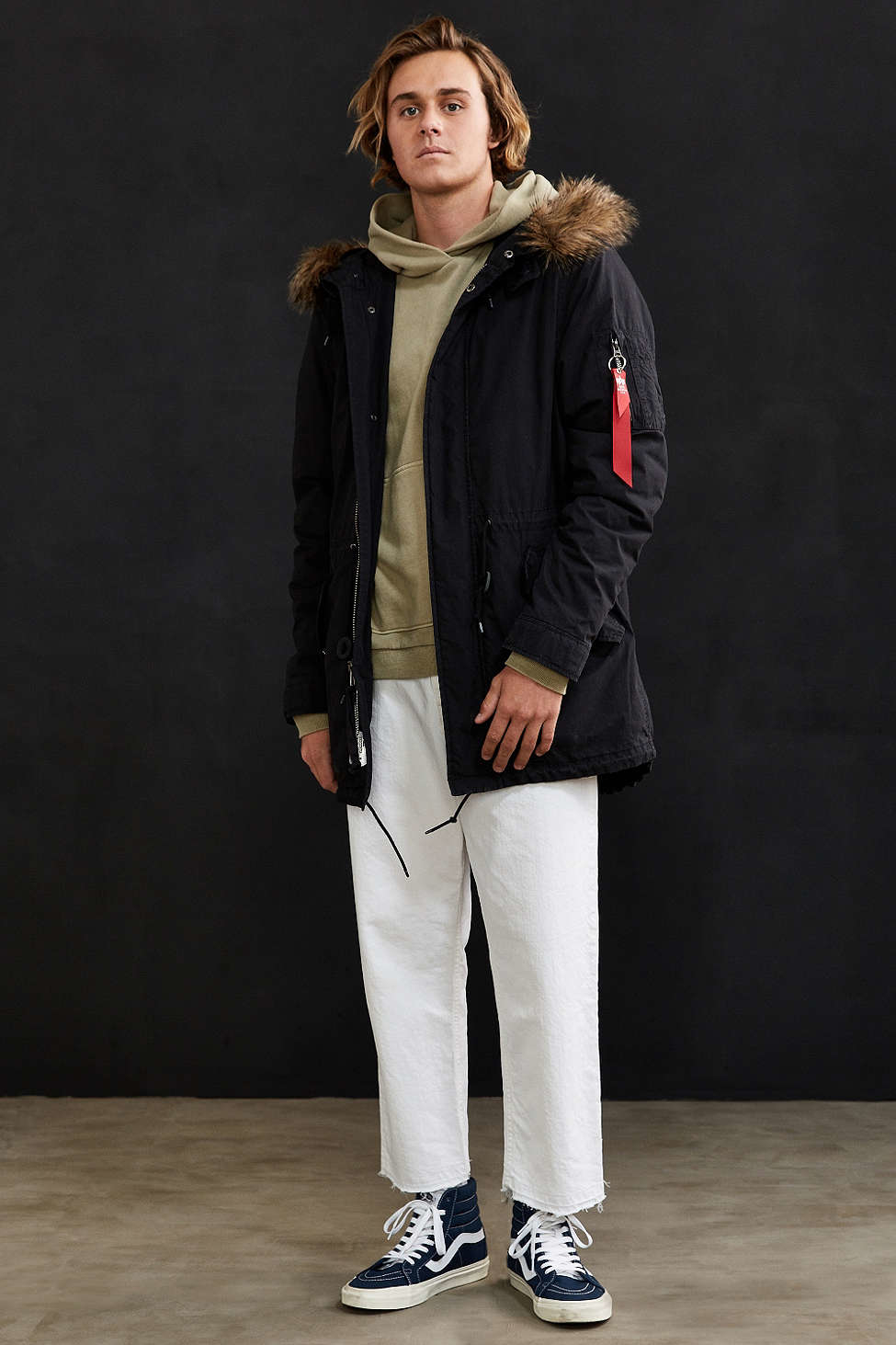 Alpha industries J-4 Fishtail Fur Parka Jacket in Black for Men | Lyst
