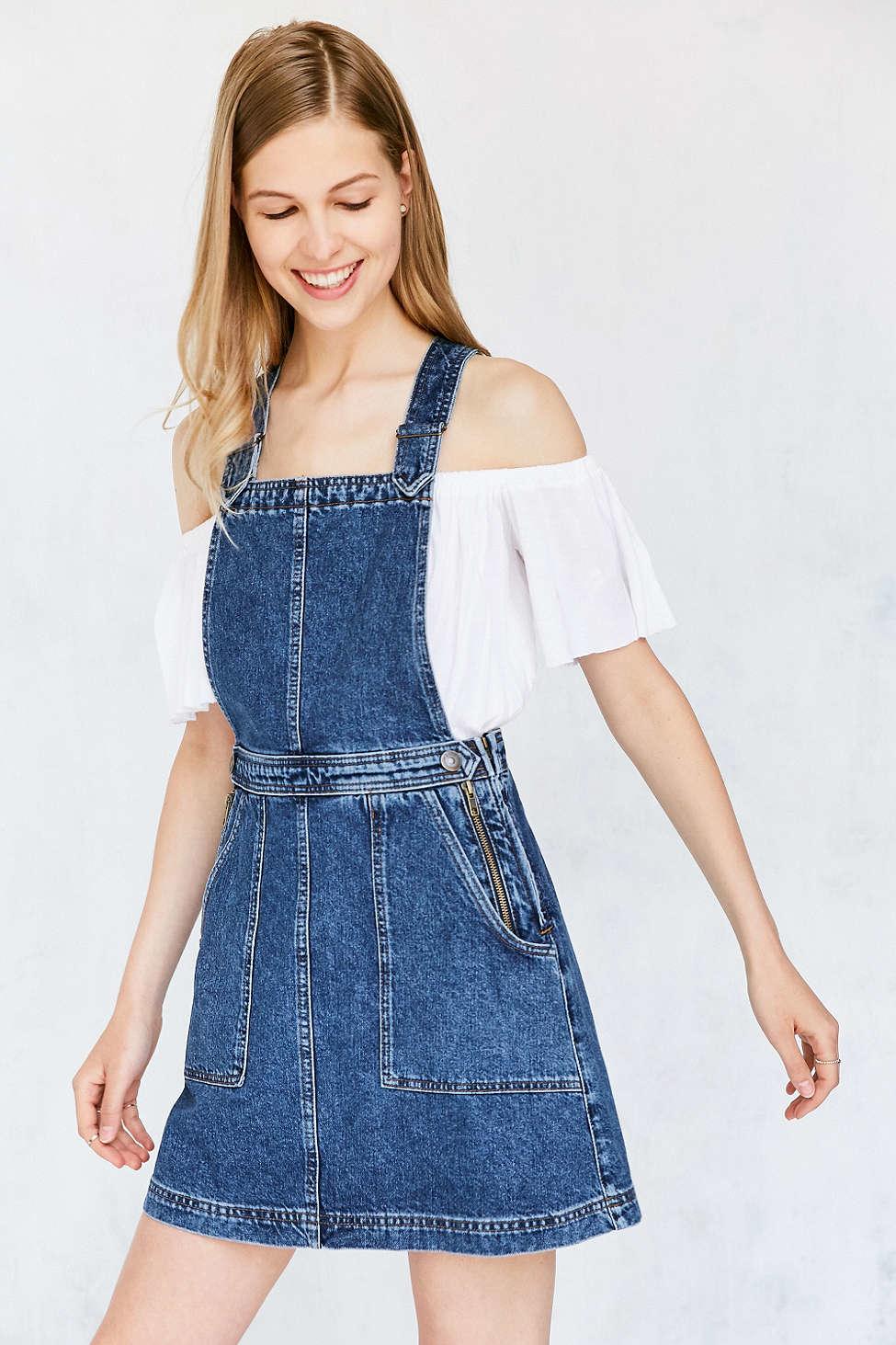 Cooperative Denim A Line Jumper Mini Dress In Blue Lyst