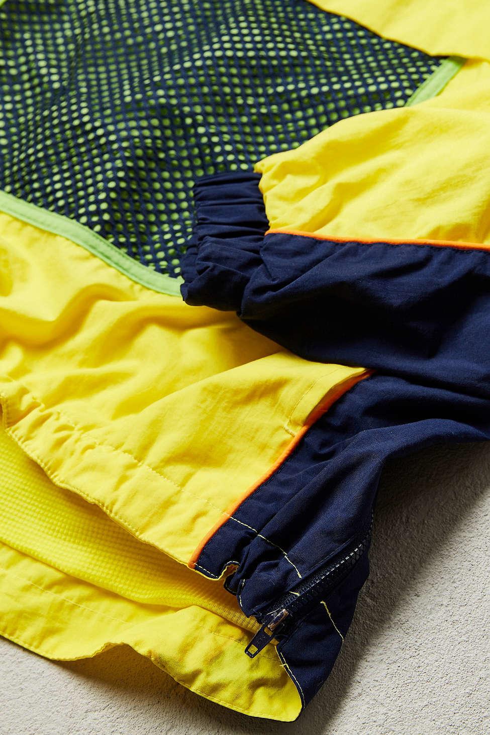 Yellow Pullover Patchwork Block Color Windbreaker Jacket