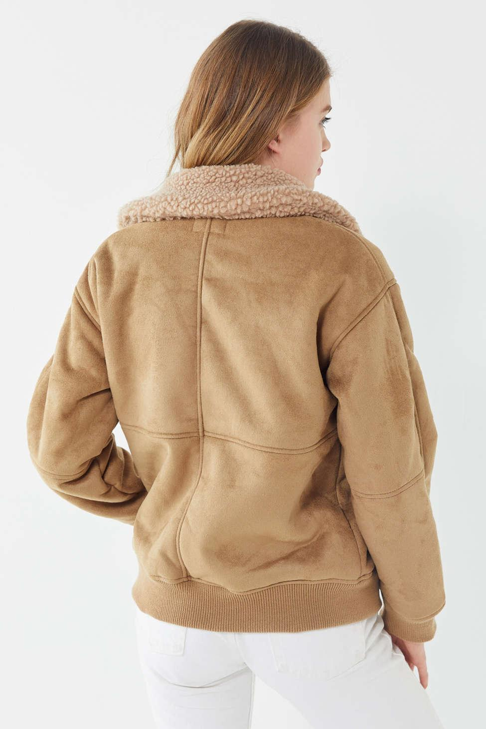 702317958a3 Urban Outfitters Uo Faux Suede Sherpa Bomber Jacket in Natural - Lyst