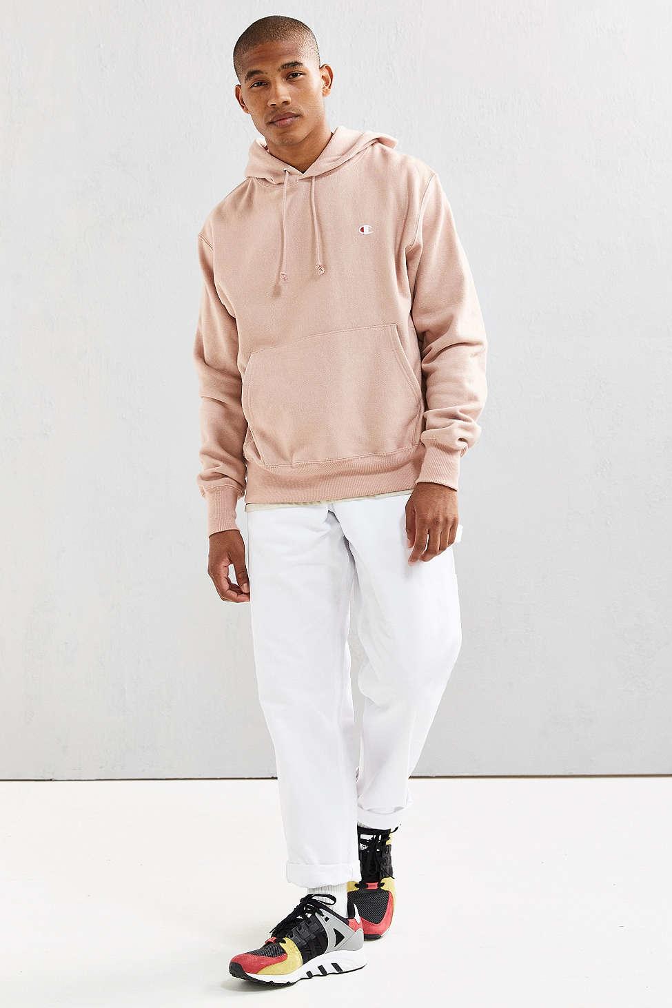 champion reverse weave hoodie sweatshirt in pink for men