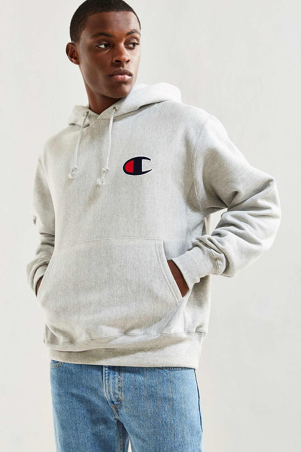93866ec2 Champion Reverse Weave Large C Hoodie Sweatshirt in Gray for Men - Lyst
