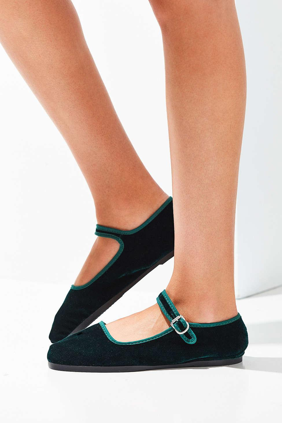 Urban Outfitters Velvet Mary Jane Flat In Green Lyst