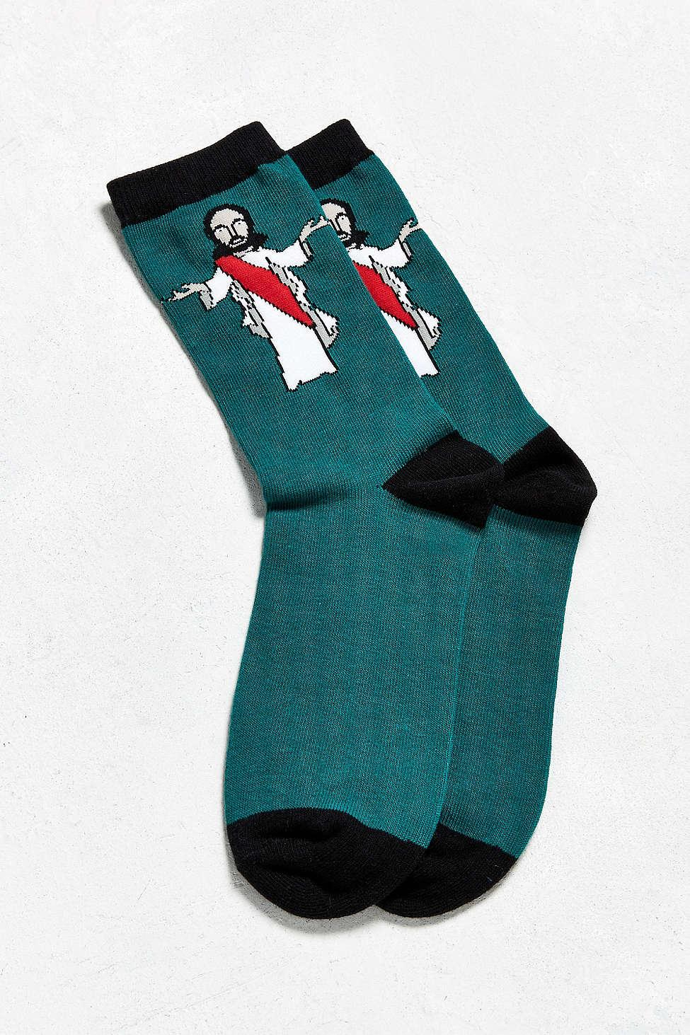 Urban Outfitters Jesus Sock In Green For Men Lyst