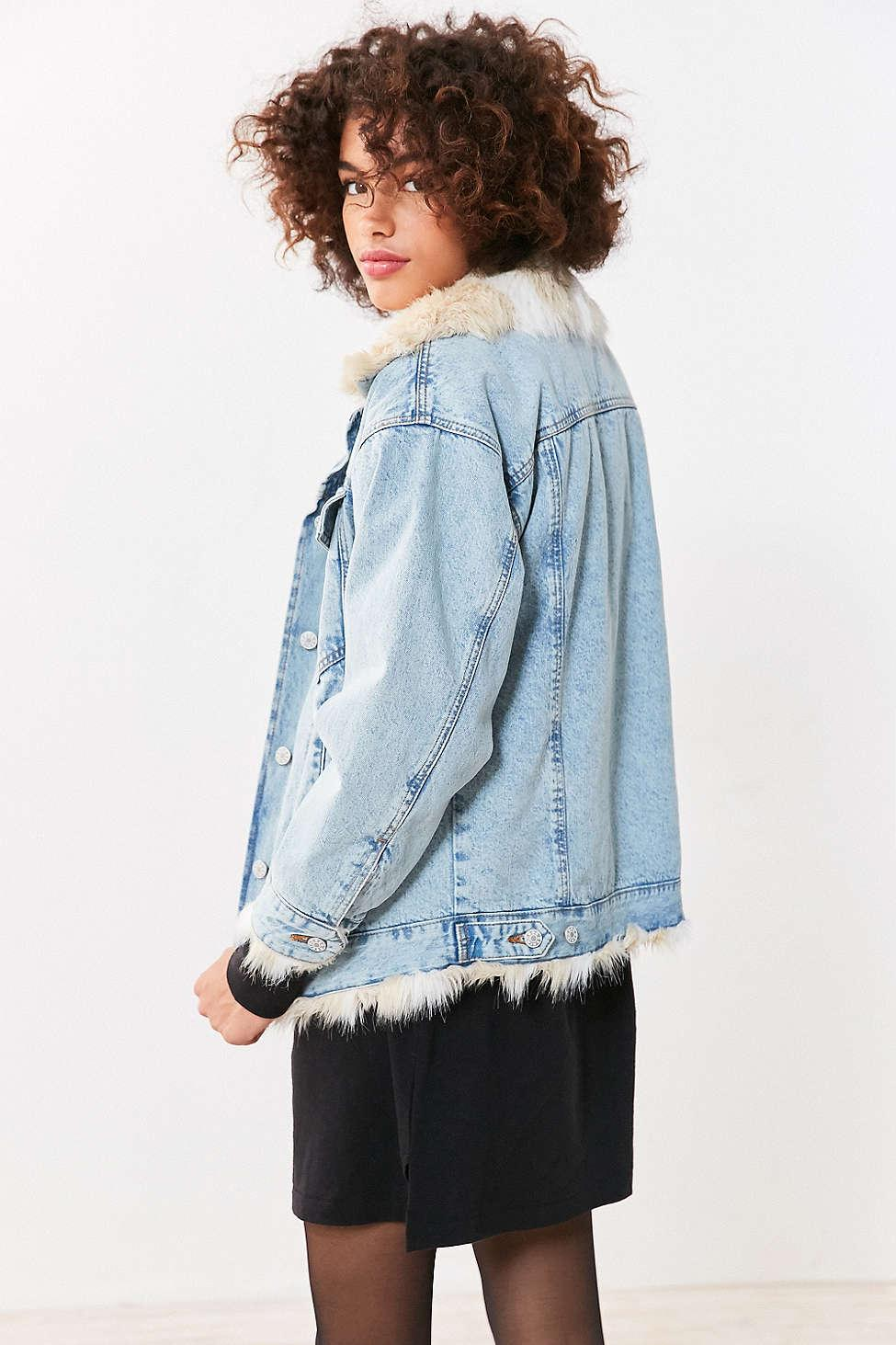 purchase original delicate colors new style & luxury Faux Fur Lined Denim Trucker Jacket