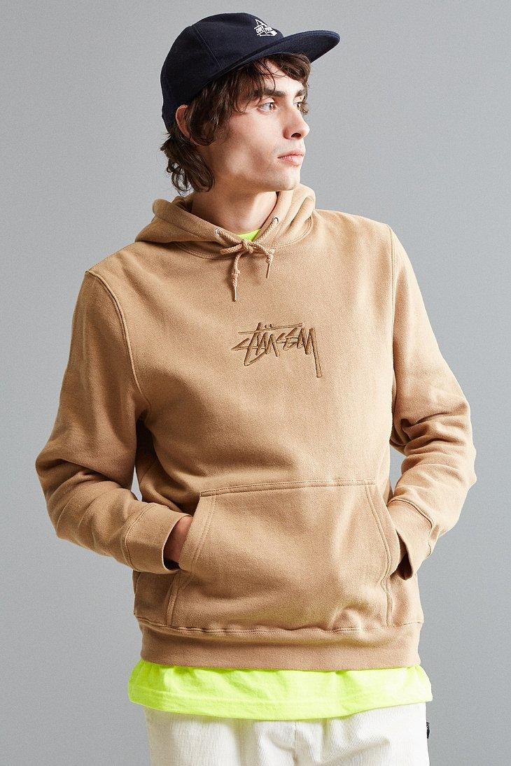 83c40aa82 Stussy Stock Embroidered Hoodie Sweatshirt in Brown for Men - Lyst