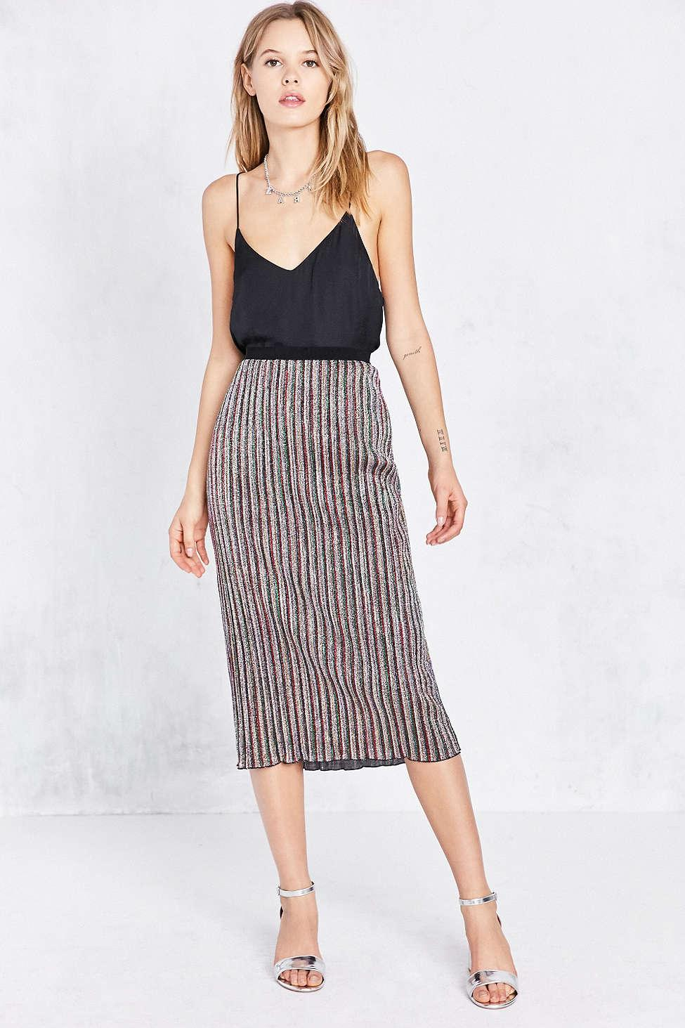 ecote sparkly stripe midi skirt lyst