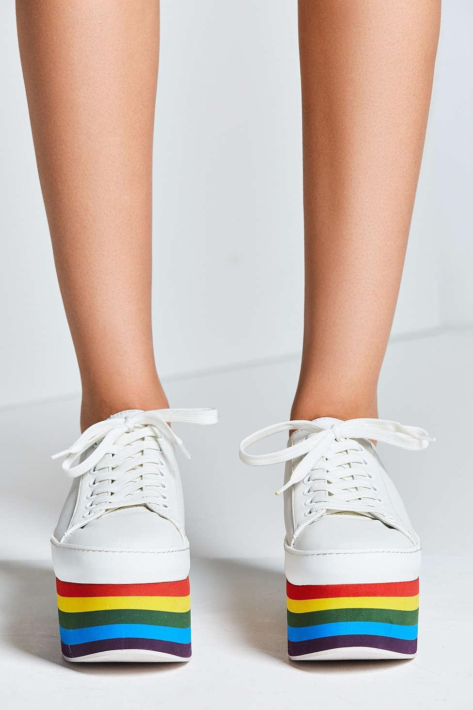 white rainbow platform sneakers