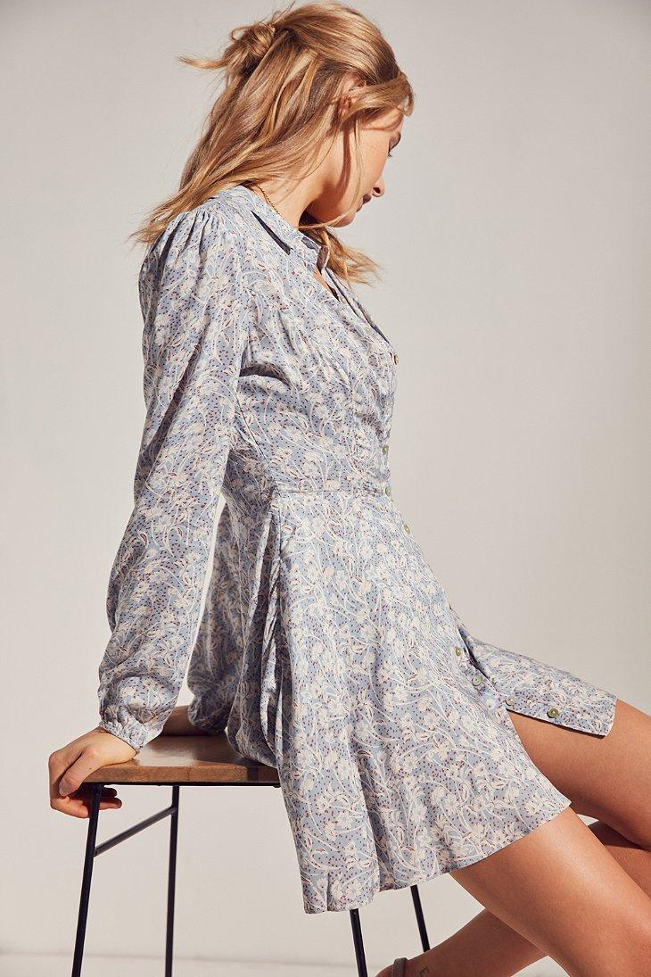 Lyst Kimchi Blue Sabrina Floral Long Sleeve Mini Shirt Dress In Swing Sleeves Gallery