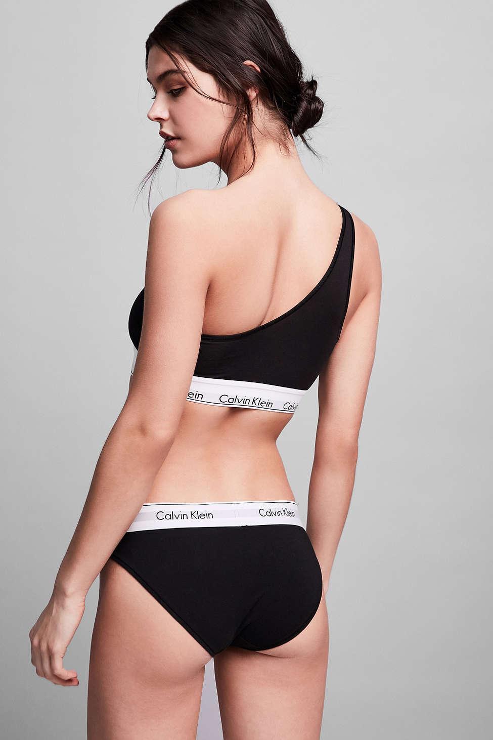 acb98f82defe66 Lyst - Calvin Klein Modern Cotton One Shoulder Bralette in Black
