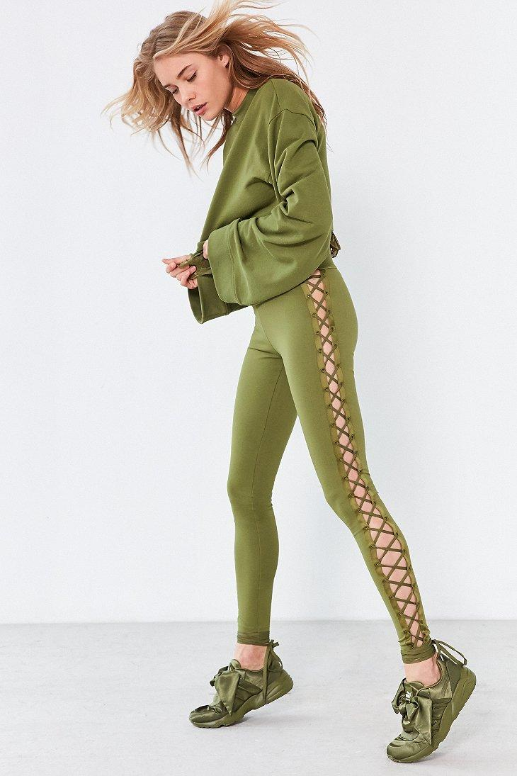 Puma Fenty By Rihanna Satin Lace-up Legging in Green