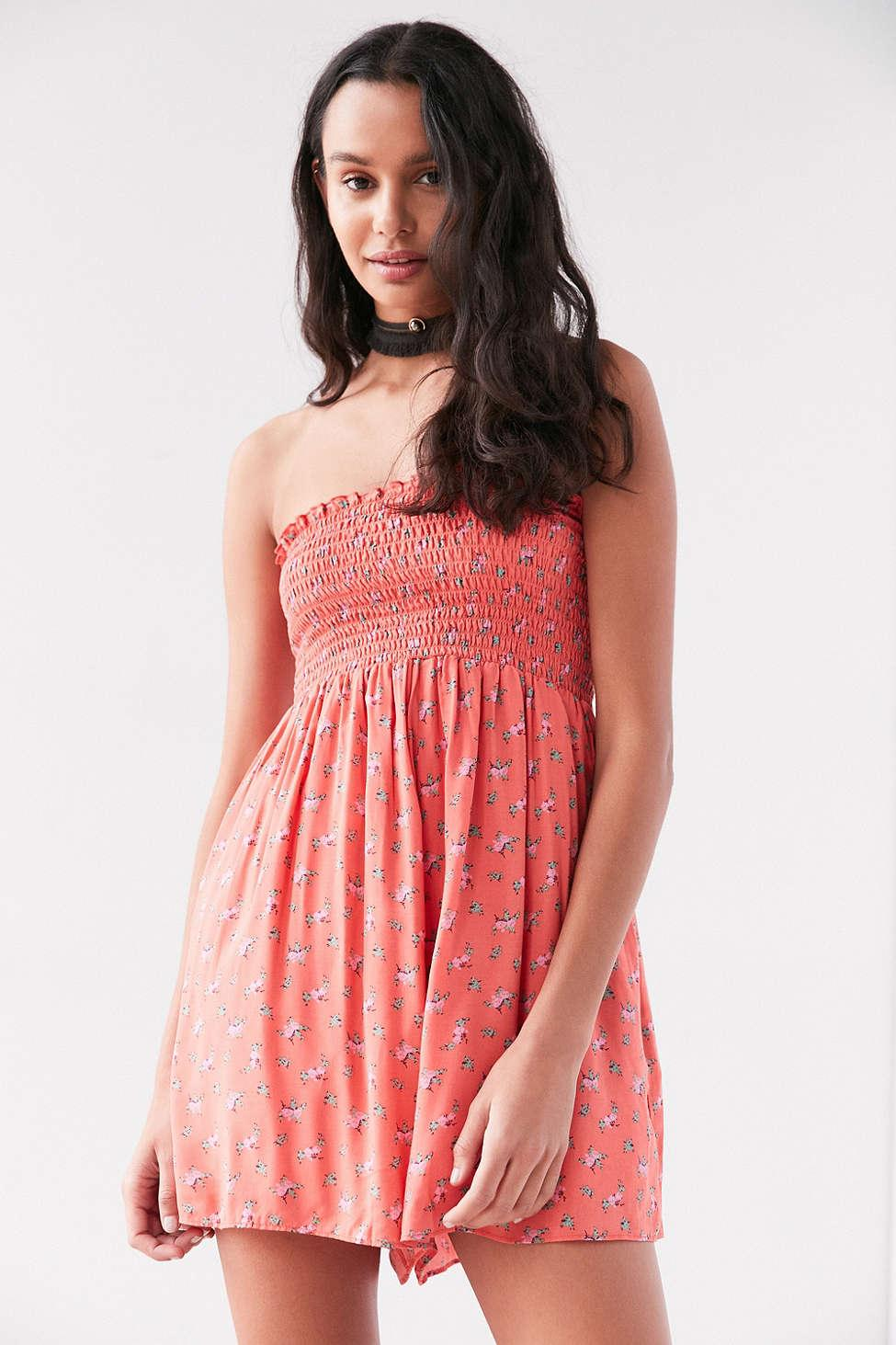 Kimchi blue Meadow Smocked Bodice Romper in Pink | Lyst