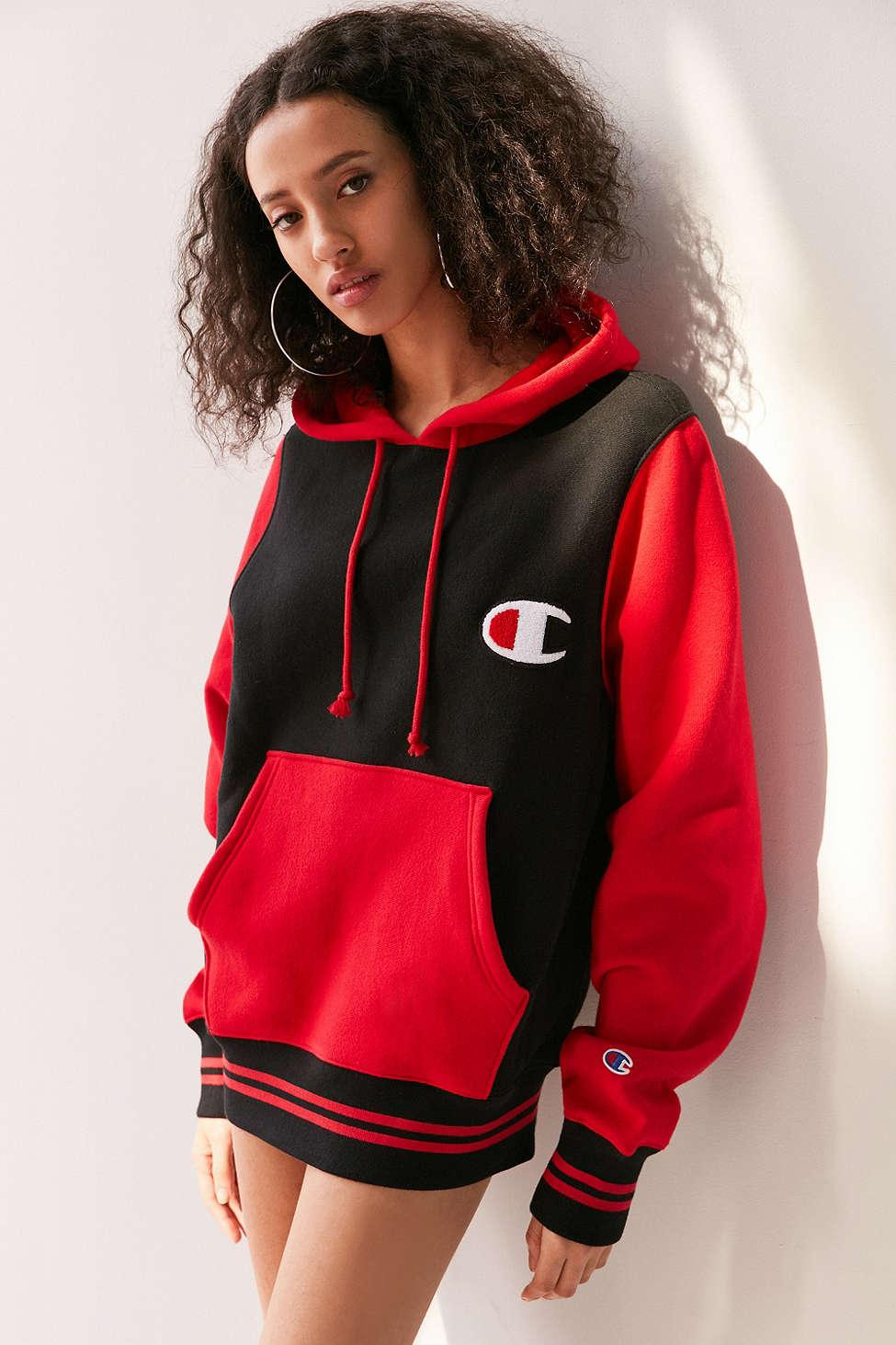 Champion Mini Logo Colorblock Hoodie Sweatshirt in Red | Lyst