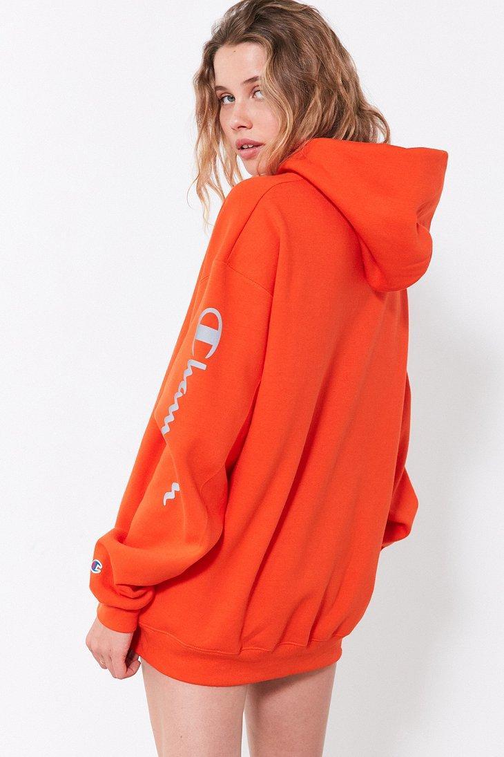 orange champion hoodie