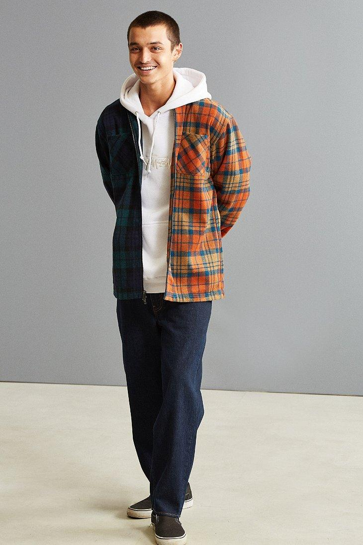 Lyst fairplay levon flannel zip shirt for men for Athletic cut flannel shirts