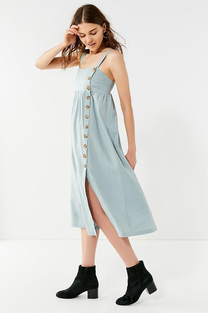6be1d5bdf448 Urban Outfitters Uo Deena Linen Button-down Midi Dress in Blue - Lyst