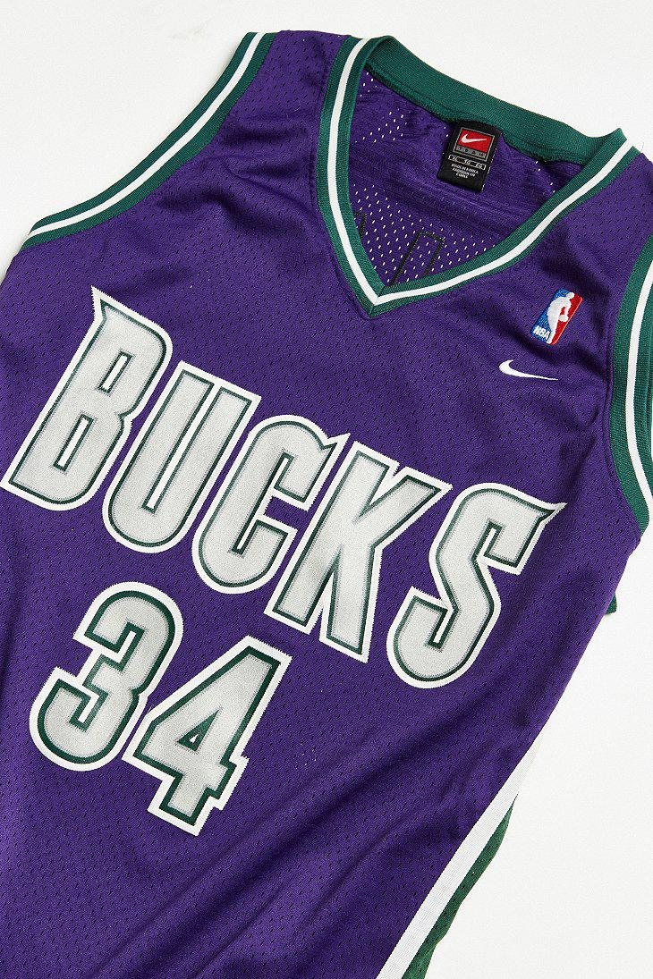 super popular 4a5aa dabf0 Urban Outfitters Purple Vintage Nike Ray Allen Milwaukee Bucks Basketball  Jersey for men