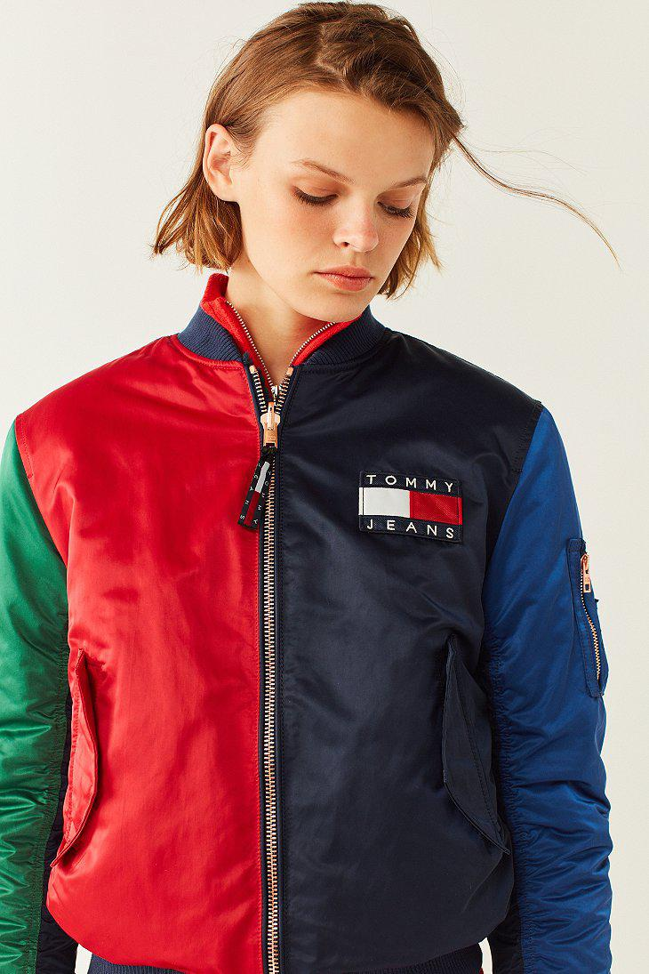 lyst tommy hilfiger tommy jeans 39 90s reversible bomber jacket in blue. Black Bedroom Furniture Sets. Home Design Ideas