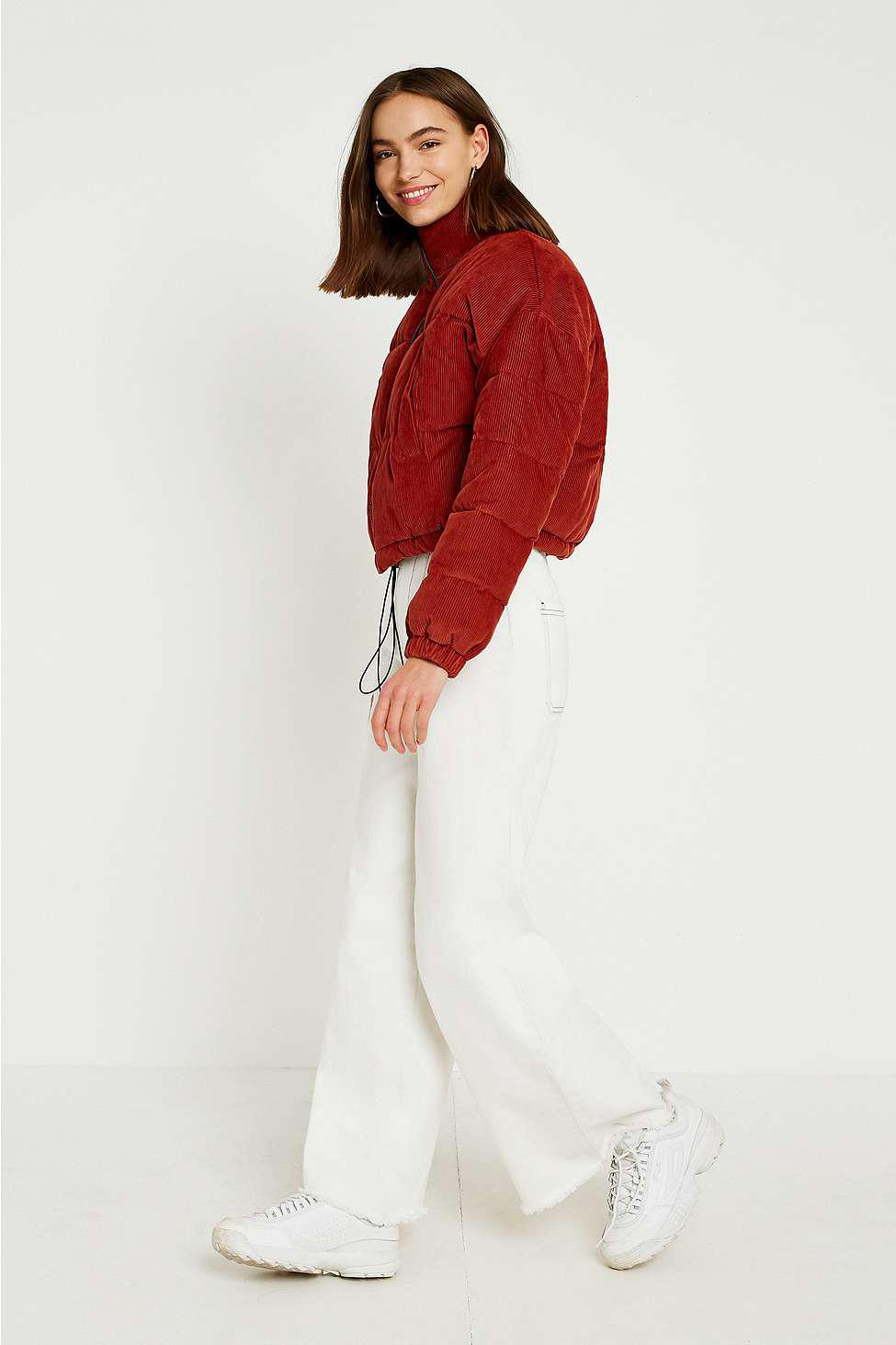 Urban Outfitters Uo Rust Corduroy Cropped Puffer Jacket in ...