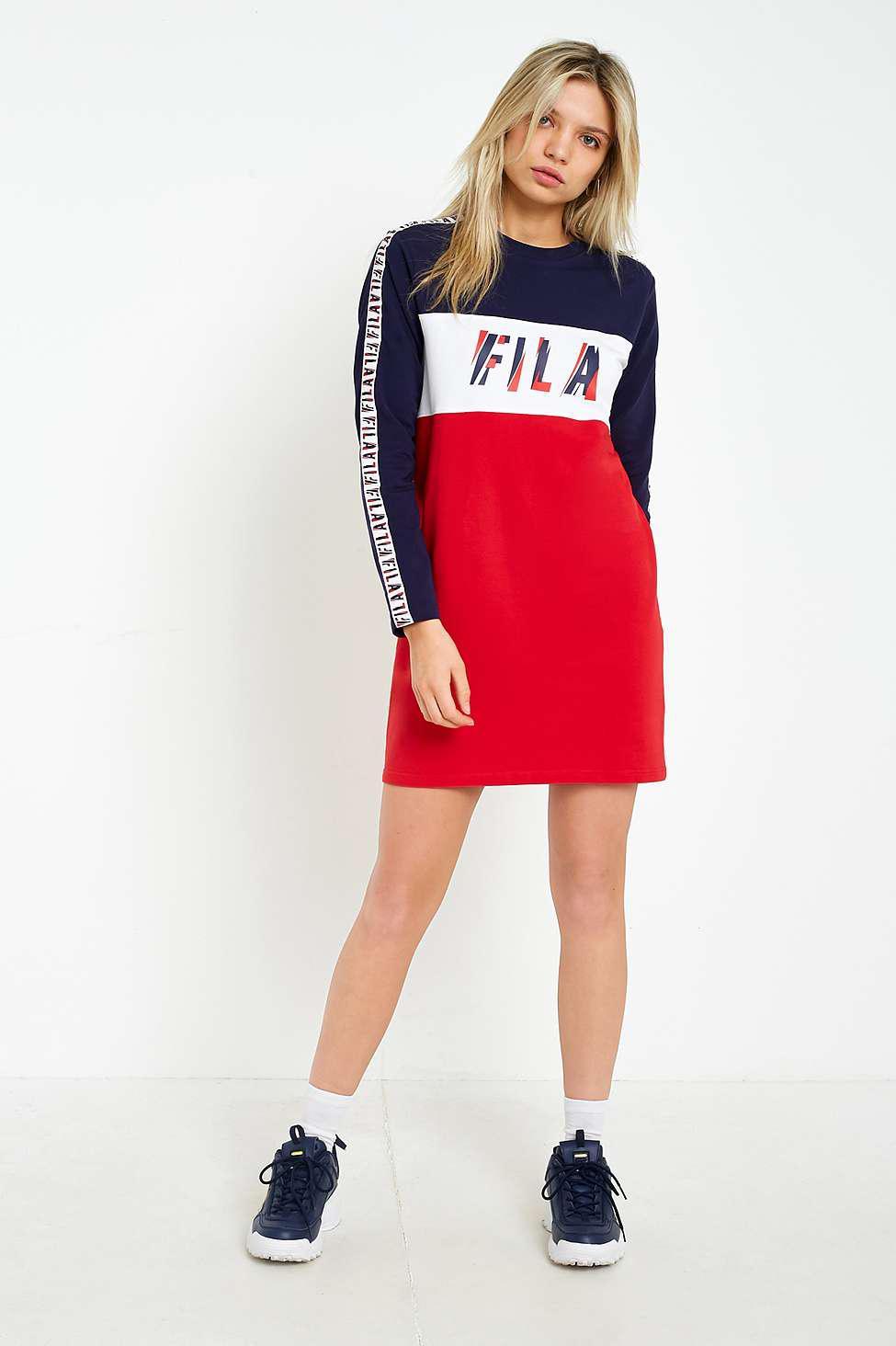 ea3aae8ecd1ac Fila Logo Taped Striped Long Sleeve T-shirt Dress - Womens L in Red ...