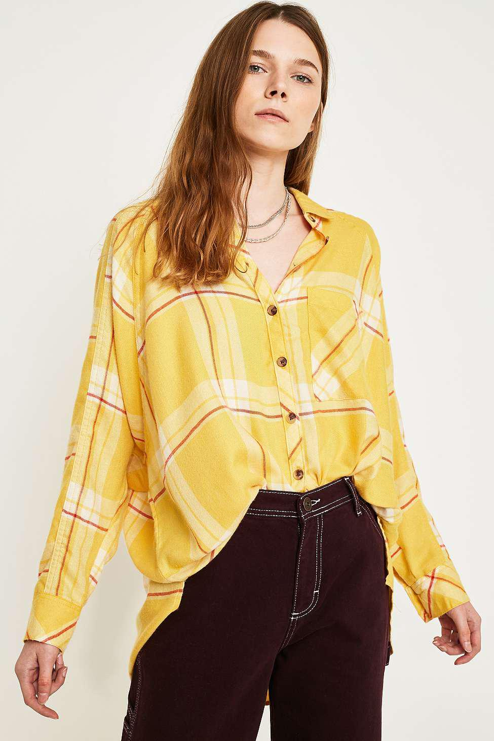 3f6518a7 Urban Outfitters Uo Brendan Yellow Drapey Flannel Button-through ...