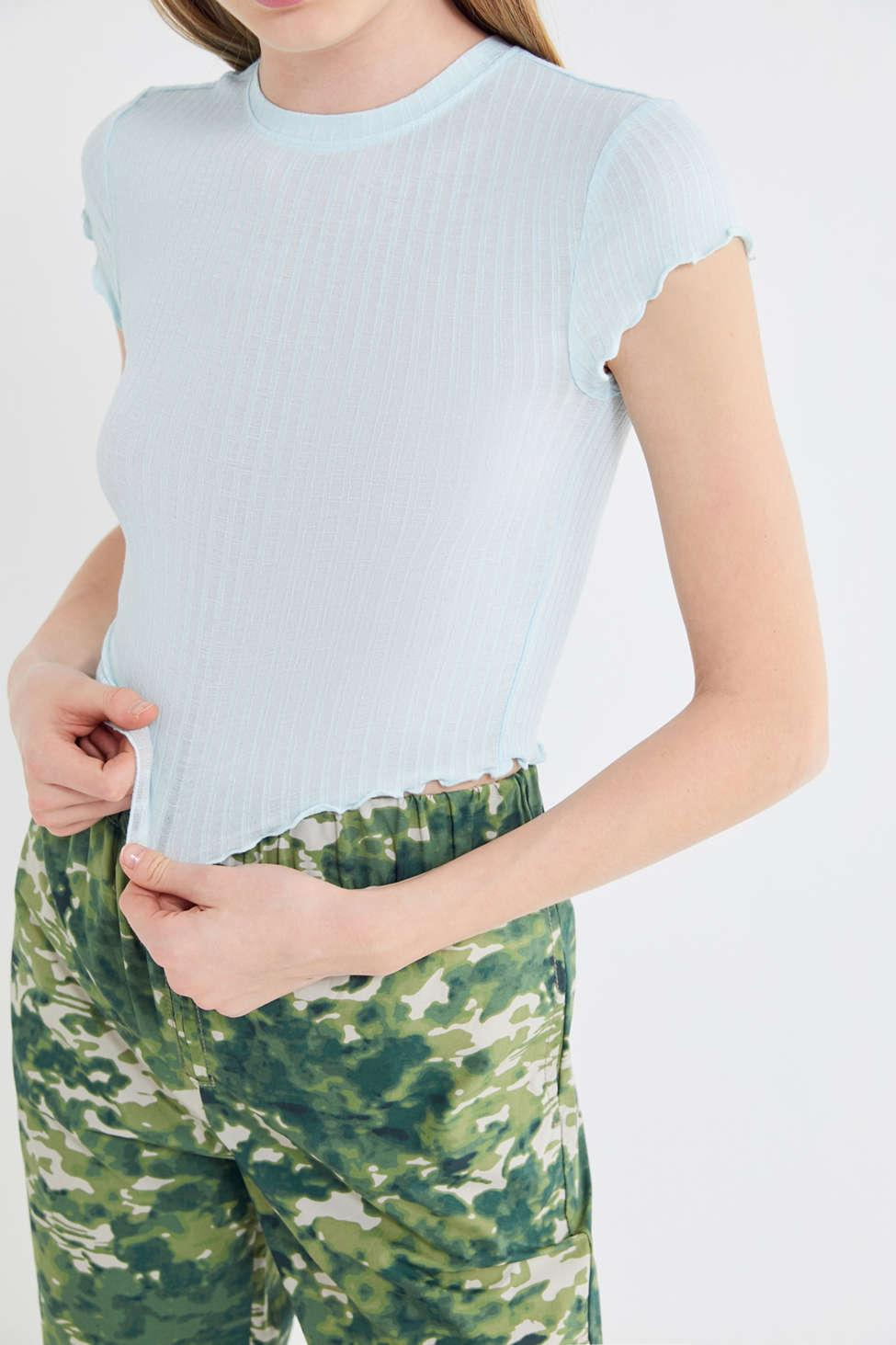 7b09e73ba8f96 Out From Under. Women s Lindsey Ribbed Lettuce-edge Cropped Top