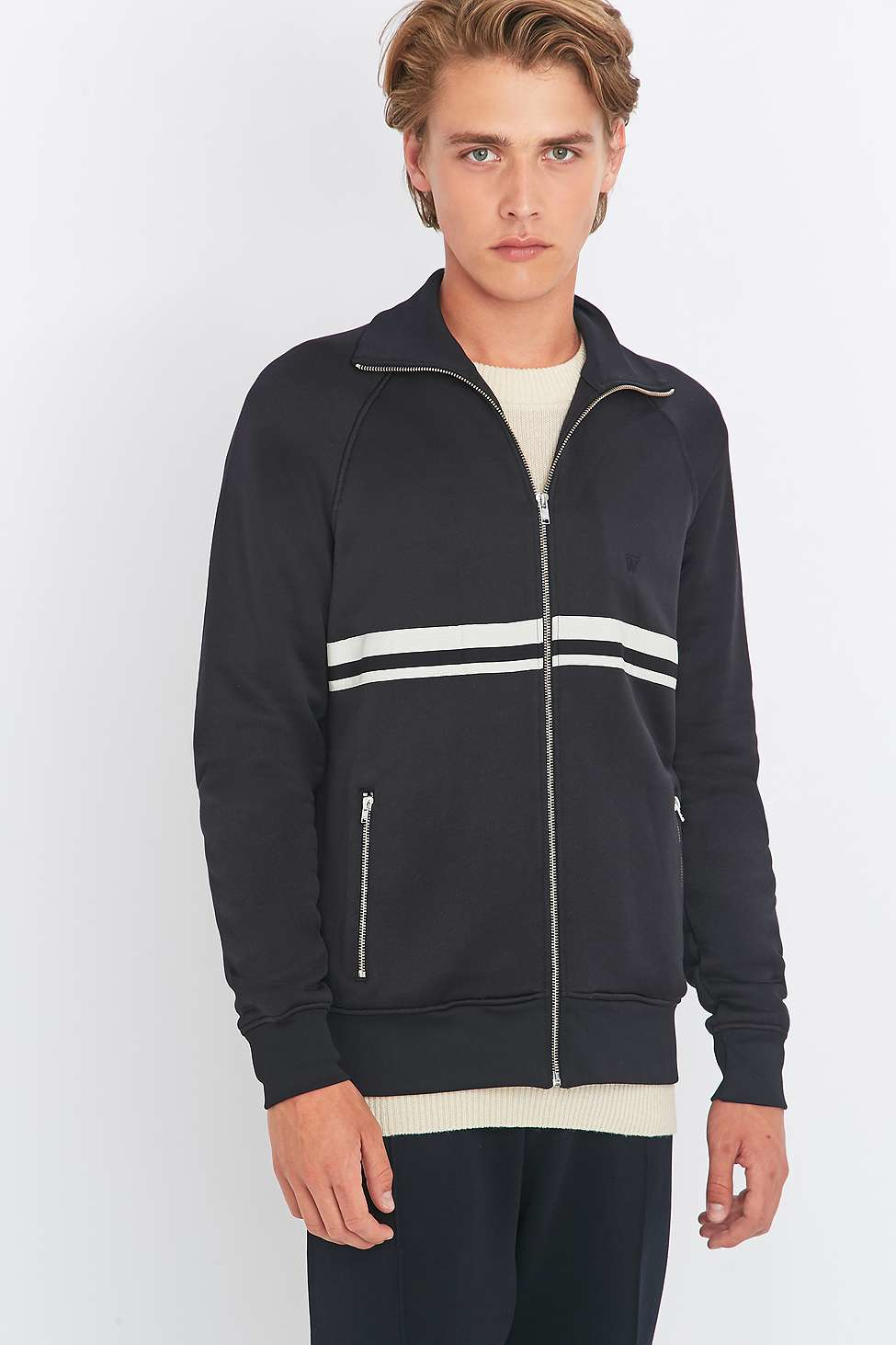 WOOD WOOD Cotton Randall Black Track Top for Men