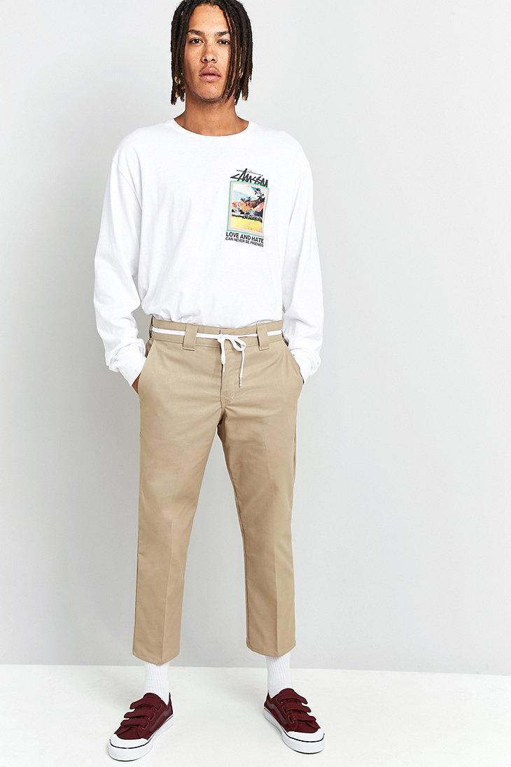 Dickies 596 Dark Sand Cropped Slim Fit Trousers in Tan (Natural) for Men