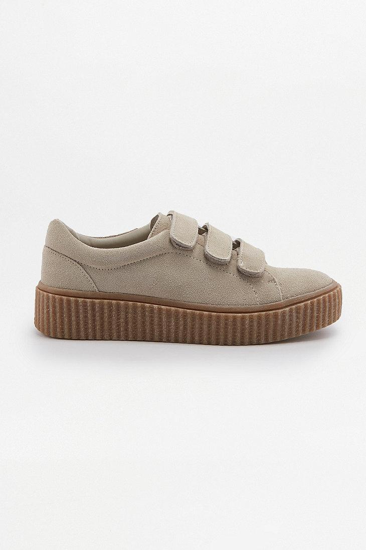 Urban Outfitters Suede Hollie 3-strap Creeper Trainers in Beige (Natural)