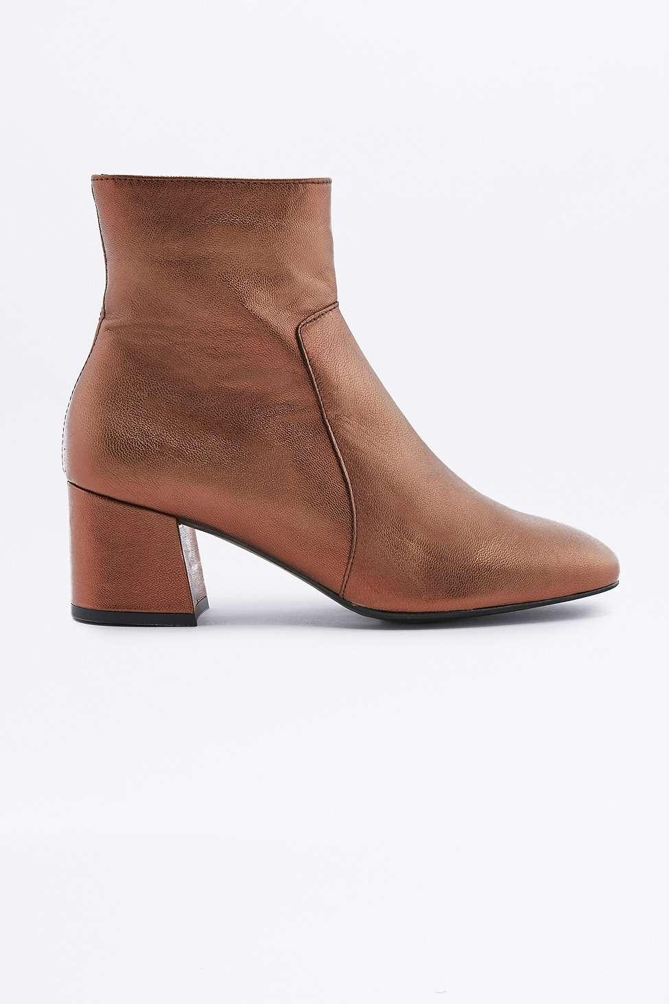 Urban Outfitters Poppy Metallic Orange Leather Ankle Boots